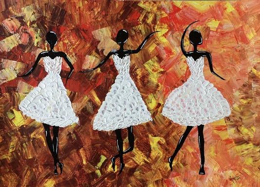 Three Girls: A Painting by Amita Dand